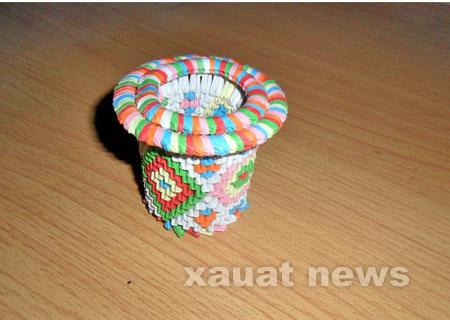 三角折纸小花瓶图解
